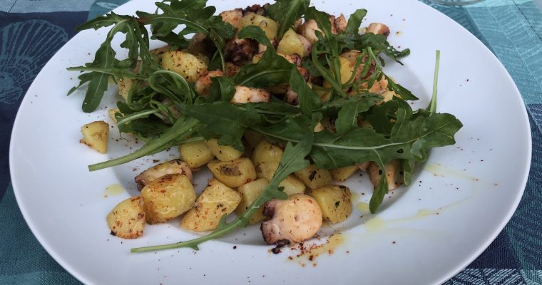lauwarme Oktopus-Kartoffel-Pfanne
