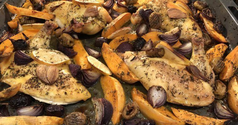 Grichisches Huhn vom Blech